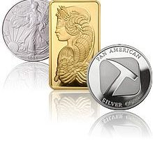 Silver and Gold bullion Bars Coins and Rounds